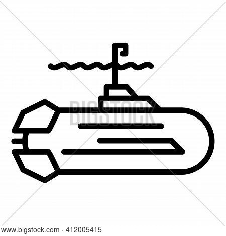 Submarine Vessel Icon. Outline Submarine Vessel Vector Icon For Web Design Isolated On White Backgro