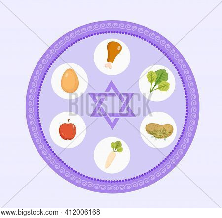Seder Plate Of Food, Flat Style. Jewish Holiday Of Passover. Isolated On White Background. Vector Il