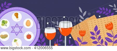 Passover Banner. Pesach Template For Your Design With Matzah And Spring Flowers. Jewish Holiday Back