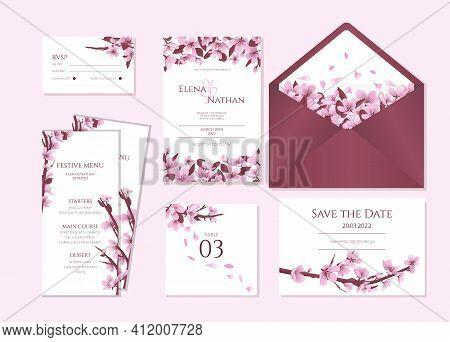 Cherry Blossom Wedding Stationary Vector Template. Wedding Invitation Template With Blooming Cherry