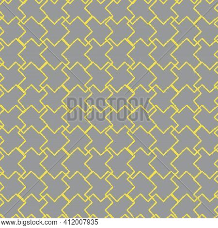 Vector Yellow Gray Grey Puzzles Seamless Pattern