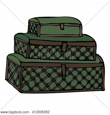 A Slide Of Wrought Iron Chests. Items For Storage. Hand Drawn Graphics, Vector.