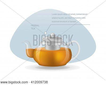 Realistic Glass Custard Transparent Teapot With Hot Fresh Black Tea Infographic On A Light Backgroun