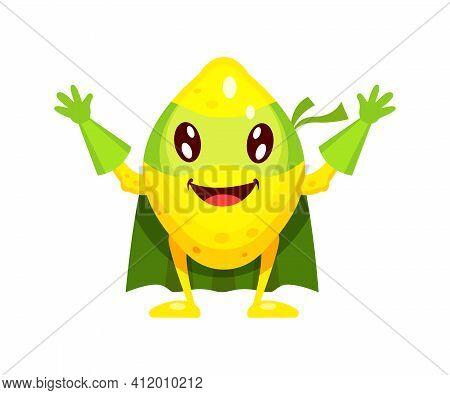Funny Cartoon Character Fruit Lemon In Superhero Costume At Masks Emotion With Hands Up. Vegetable C