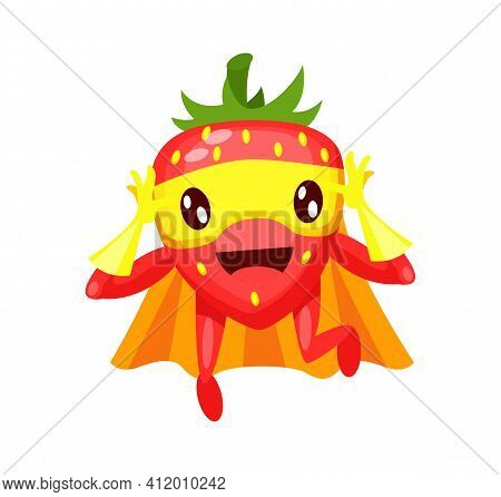 Funny Cartoon Character Fruit Strawberry In Superhero Costume At Masks Emotion With Hands Up. Vegeta