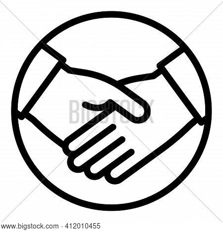Democracy Handshake Icon. Outline Democracy Handshake Vector Icon For Web Design Isolated On White B