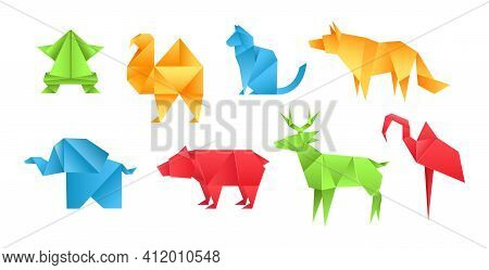 Origami Animals Different Paper Toys Set Frog, Camel, Bear, Cat, Deer, Elephant, Flamingo, Wolf Cart