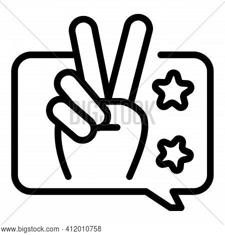 Fingers Victory Icon. Outline Fingers Victory Vector Icon For Web Design Isolated On White Backgroun