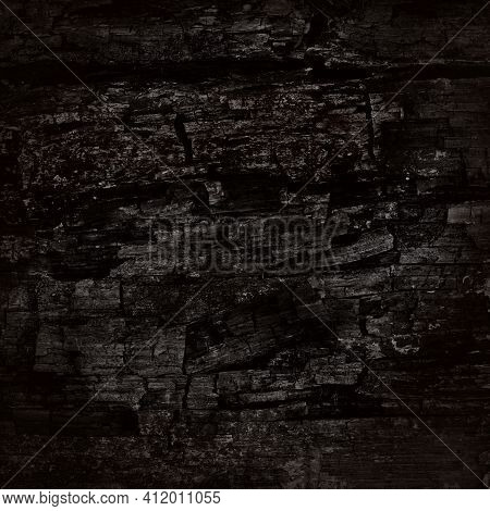 Black Rugged Background With Vignette, Carbon Texture