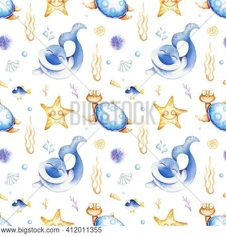 Pattern With Funny Sea Inhabitants. Striped Background. Marine Life. Watercolor.