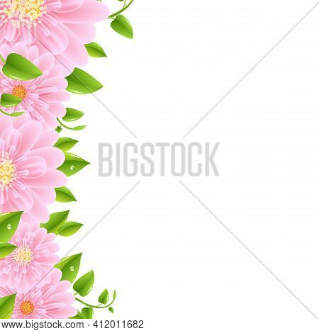 Pink Gerbers Border With Leaves, Vector Illustration