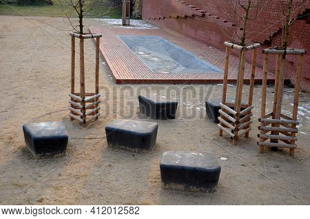 Outdoor City Paddling Pool For Children. Drained And Closed To The Public In Winter. Hygienic Equipm