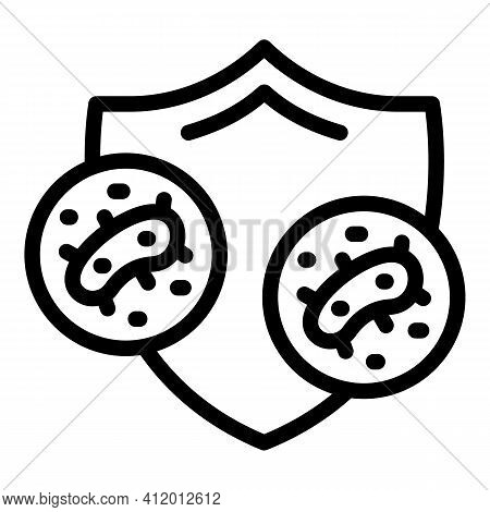 Shield Bacterial Protection Icon. Outline Shield Bacterial Protection Vector Icon For Web Design Iso