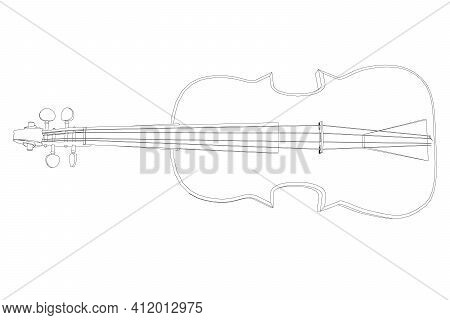 Violin Contour From Black Lines On A White Background. Top View Vector Illustration