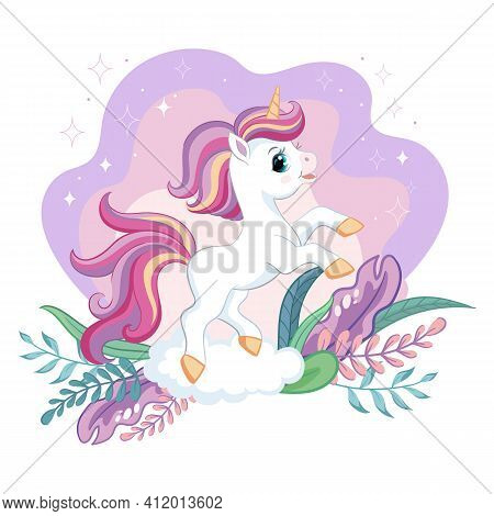 Cute Cartoon Little Unicorn With Magic Plants. Vector Isolated Illustration. For Postcard, Posters,