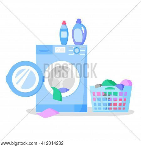 Open Washing Machine And Laundry Basket With Clothes, Bottles With Liquid Detergents, Vector Illustr