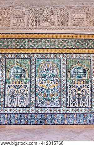 Stunning, Traditional Patterned Tunisian Tiles On Historical Buildings. High Quality Photo