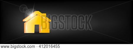 Volumetric House Icon On A Black Background. Insurance, Mortgage Concept. 3d Vector Illustration