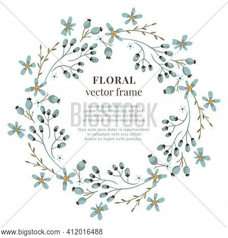 Floral Wreath Frame. Vector Meadow Wild Flower Illustration. Wedding Circle Element. Nature Isolated