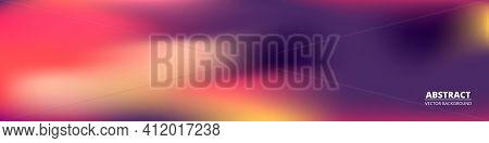 Gradient Purple Wide Vector Banner. Blurred Soft Blend Color Gradation Holographic Wide Background.