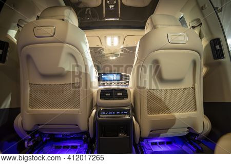 Moscow, Russia - December 24, 2019: Front View From Rear Row Of Seats Of A Premium Suv Mercedes Gls