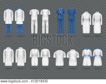Realistic Doctor Coat Mock Up. Empty Lab Uniform, Doctor Medical Laboratory Clothes, Hospital Profes