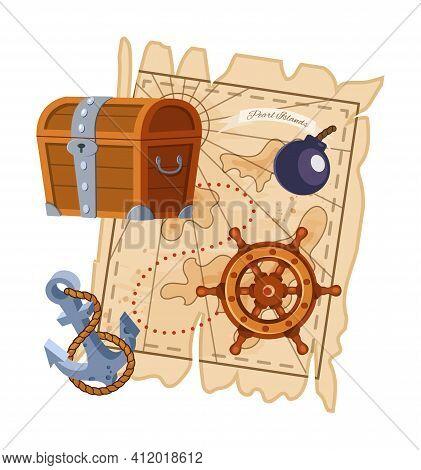 Pirate Adventure Map, Wooden Treasure Chest, Ship Wheel, Boat Anchor. Adventure To Islands, Equipmen
