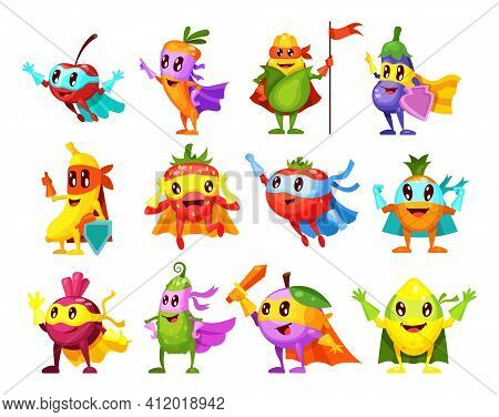 Super Hero Fruits, Vegetables. Characters In Different Poses In Costume At Masks. Vegetable Characte
