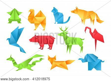 Origami Animals Different Paper Toys Set Frog, Bird, Camel, Bear, Cat, Deer, Fox, Dragon, Elephant,