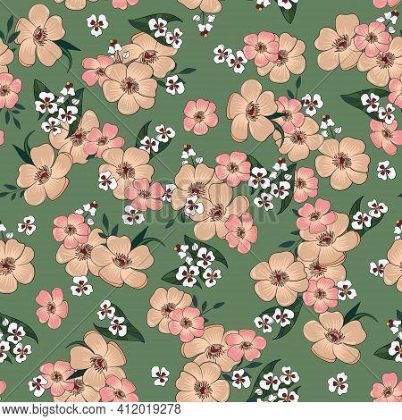Delicate And Elegant Floral Vector Pattern. On A Soft Green Background, Buttercups And Arrowheads In