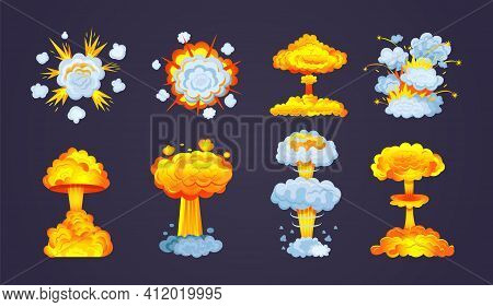 Animation For Game Of Explosion Effect. Frame Comic Animation With Effect Of Fun Explosion, Divided