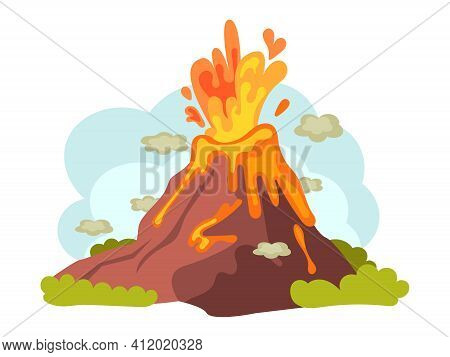 Natural Disasters Volcanic Eruptions. Wild Landscape Volcanic Eruption With Flowing Burning Lava Dow