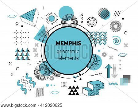 Memphis Graphic Retro Graphic, Minimal Graphic Geometric Elements Lines. Vintage Geometric Shapes Ab
