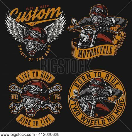 Animal Bikers Vintage Colorful Labels With Inscriptions Crossed Wrenches And Angry Wolf Motorcyclist