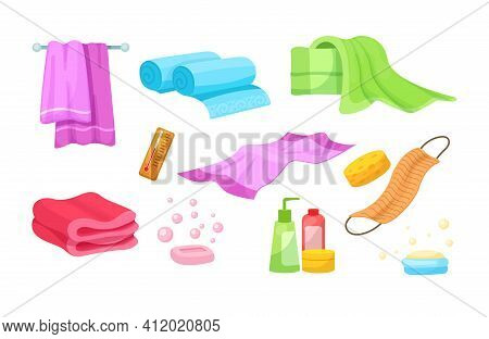 Bath Accessories Cartoon Set. Differents Bath Towels, Bathrobes, Hygiene Products, Towels In Stack R