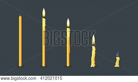 Burning Candles Flame Set. Cartoon Burning Church Wax Candles On The Different Stages Of Burning Fro