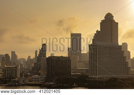 Bangkok City Scape With Famous Landmark Down Town At Dusk.