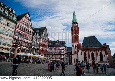 Half-timbered Houses Of Romer Square, Old Town, Minervabrunnen, Romerberg, Altstadt, Timber Framed H