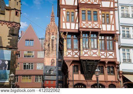 Half-timbered Houses Of Romer Square, Old Town Romerberg, Altstadt, Timber Framed Historical Buildin