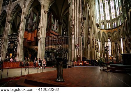 Kolner Dom, Cologne Cathedral Interior, Stained Glass Windows, Roman Catholic Gothic Church, Details