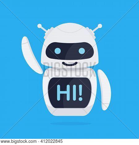 Chatbot Robot Concept. Cute Bot Say Users Hi. Chatbot Greets. Online Consultation. Vector Illustrati