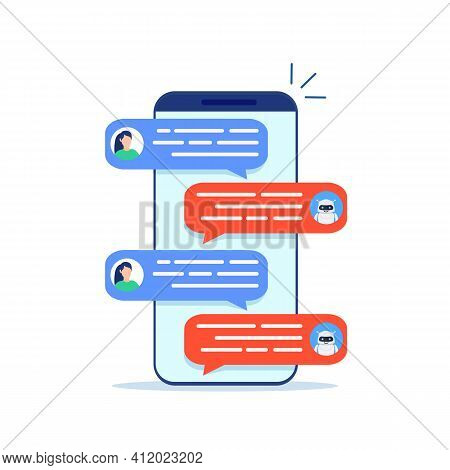 Chatbot Robot Concept. Dialog Help Service. User And Bot Speech Messages. Woman Chatting With Cute S