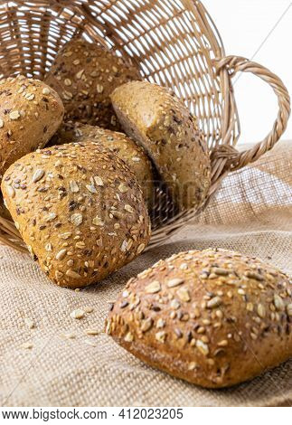 Rustic Rye. Fresh Loaf Of Rustic Traditional Bread With Wheat Grain Ear Or Spike Plant On Linen Text