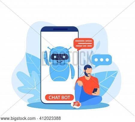 Chatbot Ai And Customer Service Concept. Man Talking With Chatbot In A Big Smartphone Screen. Ai Rob