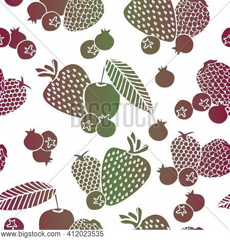 Vector Cherries, Strawberries, Blueberries And Berries Silhouettes In Red Green Ombre On White Backg