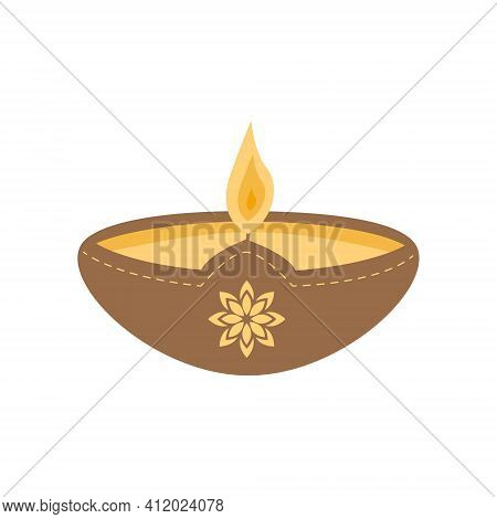 Vector Flat Diya Oil Lamp In Clay Pot. An Offering For Gods In Hinduism. Worship For Diwali. Holiday