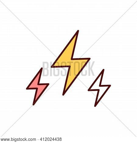 Electricity Rgb Color Icon. Electrical Power. Physical Phenomena. Electric Charge Flow. Renewable En
