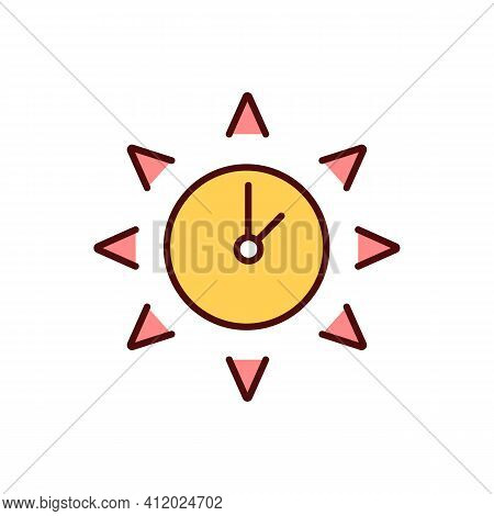 Sun Safety Rgb Color Icon. Skin Damage, Cancer. Severe Sunburns. Hours With Most Intensive Sunshine.