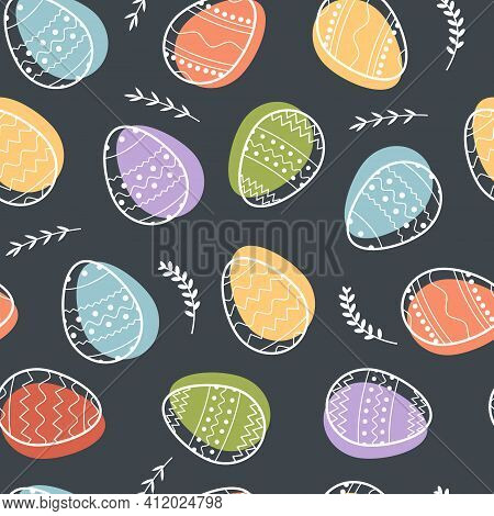 Seamless Vector Pattern Of Decorated Easter Eggs And Abstract Floral Elements On Dark Black Backgrou