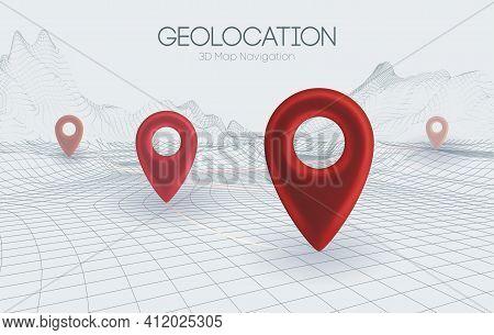 Wireframe Landscape Light Background. 3d Map Navigation Red Pointers Vector 3d Illustration. Busines
